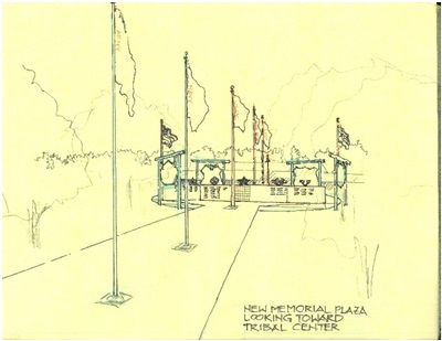 Lac du Flambeau Ojibwe, conceptual illustration, veterans memorial plaza