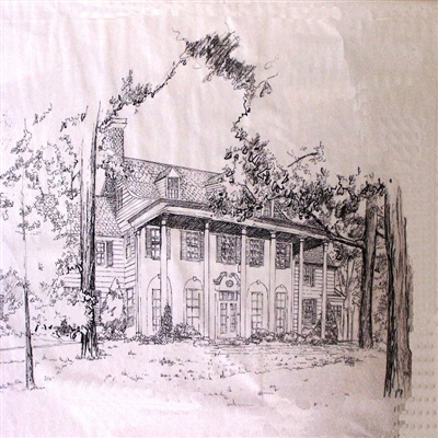 First of three black and white perspective drawings, private residence.