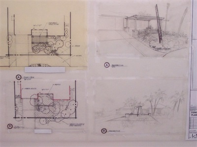 Conceptual drawing, first two of five master plans for entry, private residence, FL