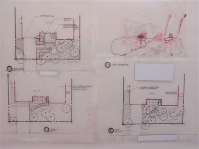 Three (of five) conceptual master plans for entry to a small private residence, Florida.