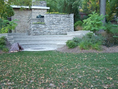 Amphitheater with firepit meeting ADA handicap accessibility requirements, George Williams College Campus, Aurora University.