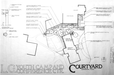 Courtyard design for an evolving campus plan.  What was the blacksmith area and stable and housing for students was being transitioned into a recption center for the youth camp. 