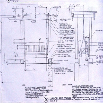 Construction detail, arbor/swing, private residence.