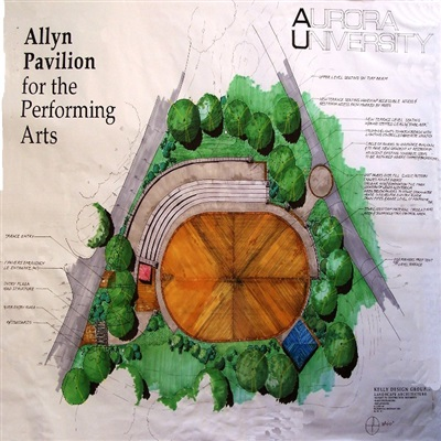 Illustrated Master Plan, Allyn Pavilion, George Williams College Campus, Aurora University.