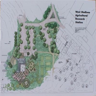 Rendered presentation board, conceptual master plan, West Madison Agricultural Research Station, an educational and research facility for development and use of improved landscape and horticultural methodology.