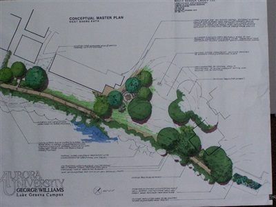 Rendered conceptual plan: western portion of shoreline, George Williams College, Aurora University.